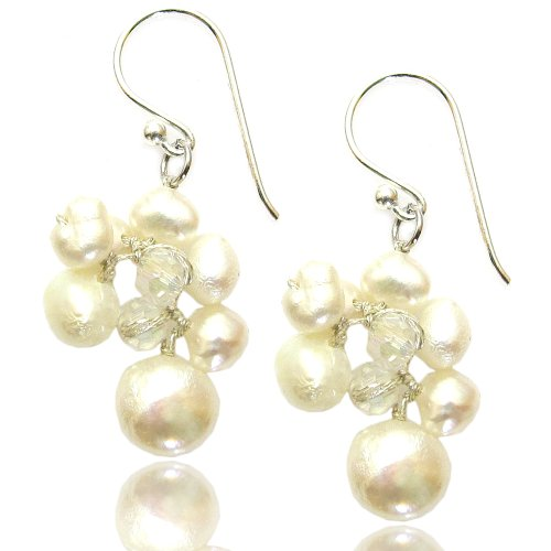 MGD, White Pearls Bead Cluster Drop and Dangle Earrings,