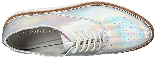 de Cordones Silver Marco 23708 Zapatos Mujer Tozzi 941 Oxford para Plateado txxZTOwq