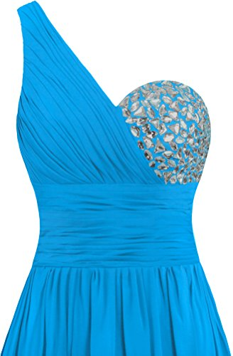 Blue Long Women's Evening Dresses Shoulder Prom Gowns One Chiffon ANTS AOvnYzz