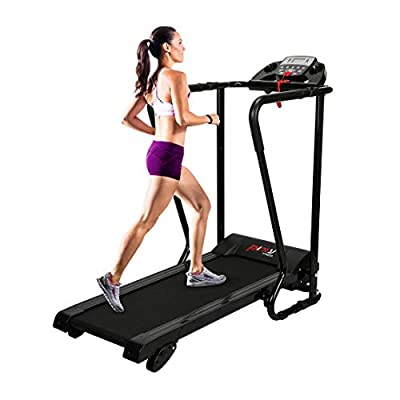Pinty Electric Folding Treadmill - Easy Assembly Walking Running Jogging Fitness Machine for Home Use and Gym Cardio Fitness, with Cup and Ipad Holder and Extra-Long Handles for Safety