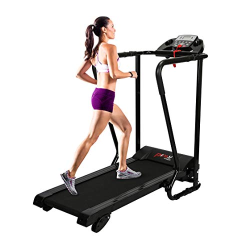 Pinty Electric Folding Treadmill – Easy Assembly Walking Running Jogging Fitness Machine for Home Use and Gym Cardio Fitness, with Cup and Ipad Holder and Extra-Long Handles for Safety