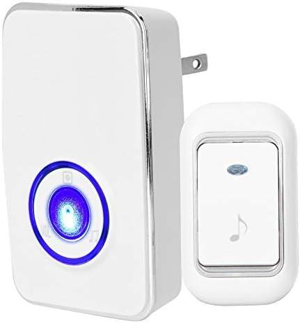 [해외]Wireless Doorbell LED Doorbell for Patient Elderly Deaf Caller Remote Alarm 4 Volume LevelReceiver+Transmitter(US White) / Wireless Doorbell, LED Doorbell for Patient Elderly Deaf Caller Remote Alarm, 4 Volume Level,Receiver+Transm...