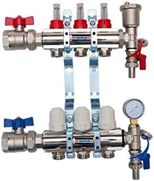 Colector completo con 3 puertos para calefacci/ón por suelo radiante con conexiones de tuber/ía de 16 mm v/álvulas de bola y ventilaci/ón autom/ática y man/ómetro de presi/ón