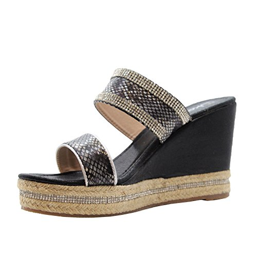 SAUTE STYLES Ladies Womens Strap Diamante Espadrilles Platform High Wedge Sandals Shoes Size 3-8 Black Espadrilles ZQ1MkHE0