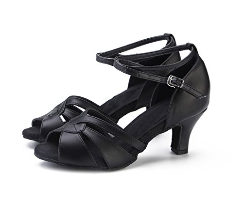 Tango Pumps Ballroom Joymod Women's Wedding Peep Heel Dance Samba Leather Latin Modern Cut MGM Salsa Formal Party Black Out Shoes Rumba Mid Toe Heel 6cm 1AwxvnCq