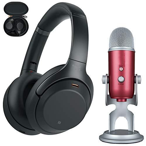 Sony WH1000XM3/B Noise Cancelling Wireless Headphones + Blue Yeti USB Mic (Steel...