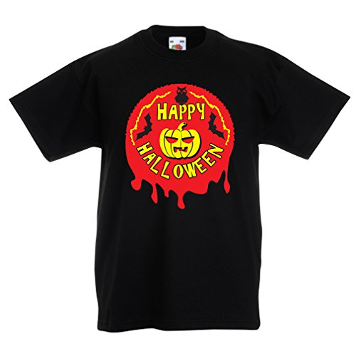 T Shirts for Kids Happy Halloween! - Party Clothes - Pumpkins, Owls, Bats (14-15 Years Black Multi Color) ()