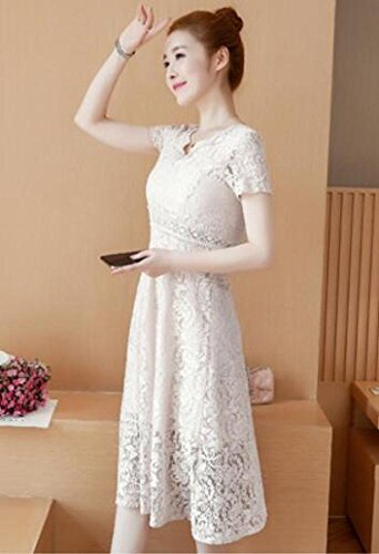 Lace V Weiß Sommerkleid Dress dünnes dünnes Long MoMo Ausschnitt Kurzarm Bottom Lace qfPI0qxwB