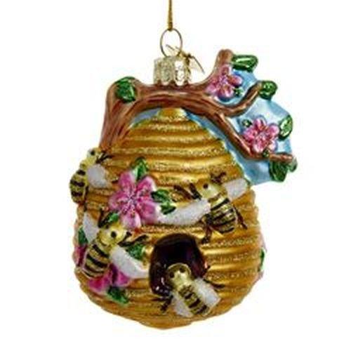 Kurt Adler Glass Glittered Beehive Ornament]()