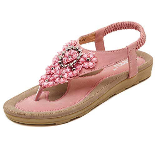 Fnnetiana Women's Summer Thong Flat Sandals Bohemian Beaded Flower Ankle Strap Flip Flops Shoes(8.5 B(M) US,Pink)