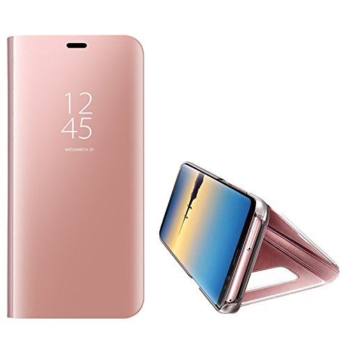 For Samsung Galaxy Note 8 Mirror Case,Shinetop Slim Fit Metal Electroplate Plating Smart Clear View Case Flip Folio Stand PC Hard Cover 360 Degree Full Body Shockproof Protective Skin Cover-Rose Gold