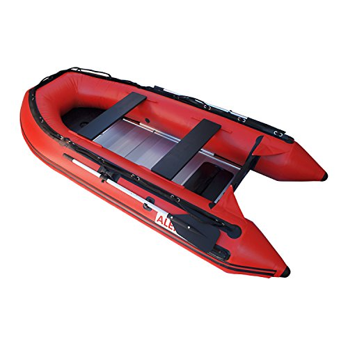 - ALEKO BT320R 10.5 Foot Inflatable Boat with Aluminum Floor Heavy Duty Design 4 Person Raft Sport Motor Fishing Boat 3 Keel Air Chambers Red