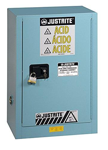 Justrite Safety Storage Cabinet (Justrite 891202 Sure-Grip EX Galvanized Steel 1 Door Manual Compac Corrosives Safety Storage Cabinet, 12 Gallon Capacity, 23-1/4