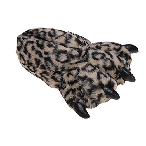 YOUJIA Unisex Invierni Zapatillas de casa de Animales Disfraces Halloween Garras Pantuflas de Felpa Peluche Calienta Pies - Tamaño: 34-39 Café Luz