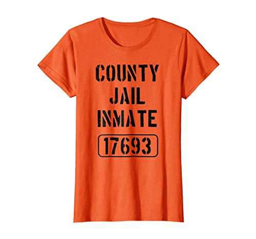 Womens Prisoner Costume Tshirt | County Jail Inmate Funny Tee XL Orange