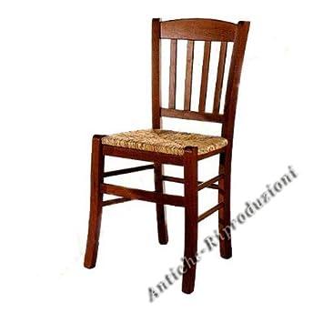 Stühle Holz Antik Esszimmer, Stroh Sitz, Holzstühle Klassisch, Italienischer  Produktion