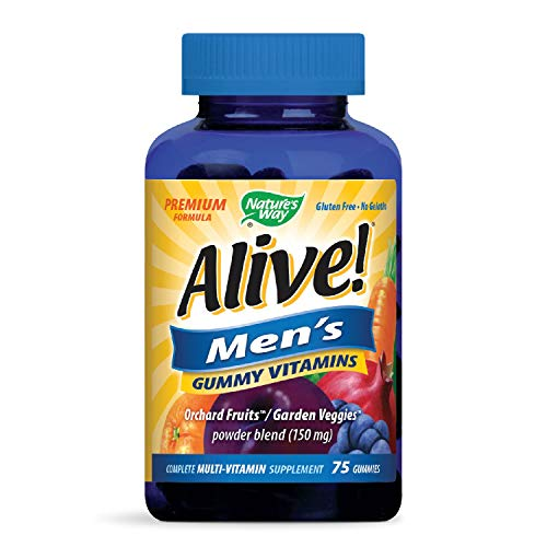 Nature's Way Alive! Men's Premium Gummy Multivitamin, Fruit and Veggie Blend (150mg per serving), Full B Vitamin Complex, Gluten Free, Made with Pectin, 75 Gummies