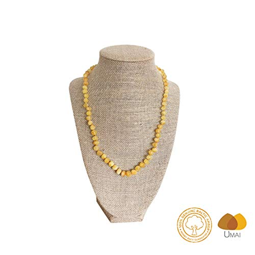 Raw Baltic Amber Adult Necklace- Lemon Color - 18 inches Long - Anti-inflammatory - Natural Pain Relief for Carpel Tunnel, Arthritis, Sinus Pressure, Headaches and Migraines ()