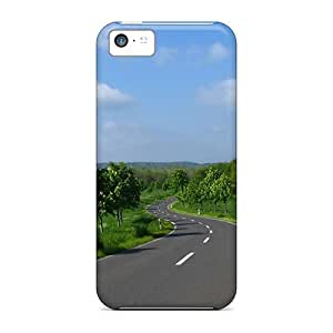 DavidKearns Scratch-free Phone Case For Iphone 5c- Retail Packaging - Trees Roads