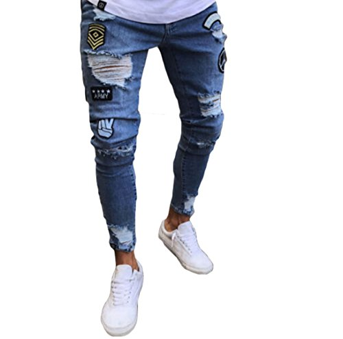 Tomblin Men's Ripped Skinny Distressed Destroyed Straight Fit Zipper Jeans With Holes (L=US M, Blue Pattern)