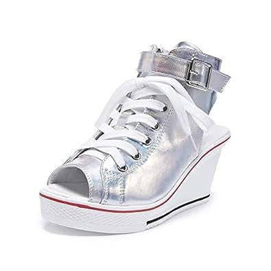 Sokaly Women's Canvas Shoes Wedge Heeled Platform Sneaker Fashion Pump Shoes Size: 5.5