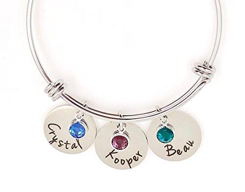 Personalized Bangle Bracelet Mom Grandma Birthstone and Names - Grandmother Birthstone Jewelry