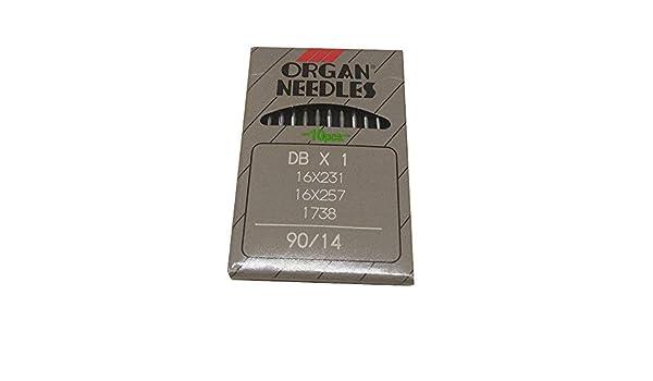 Agujas de costura YICBOR para coser de punto de bloqueo industrial para Organ, DBX1 16X231 16X257 1738 Tamaño 90/14: Amazon.es: Hogar
