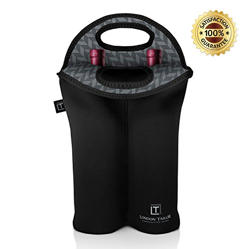 LONDON TAILOR Neoprene 2 Bottle Wine Carrier - Insulated Neoprene Wine Tote Purse for 2 Standard Sized Bottles - Well Built BYOB Tote - Better Quality Than Other Carriers & Totes GREY PIXEL
