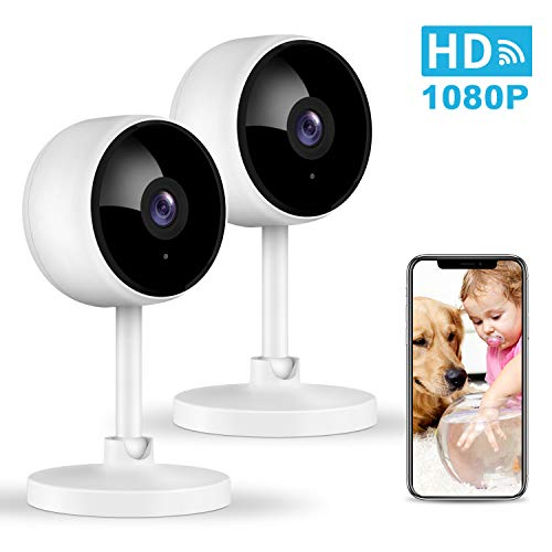 Security Camera, Littlelf 1080P Wifi Camera Indoor Baby Monitor with Infrared Night Vision, Motion Detection, 2 Way Audio, Wireless Surveillance home Camera for Baby/Pet/Elder Alexa Support - 2 Pack