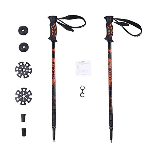 ENKEEO Trekking Poles Anti Shock & Quick Lock Hiking Poles Ultralight Collapsible Trail Walking Stick with Durable Aluminum (Black and Orange, 1 Pair / 2 - Shaft No Extension