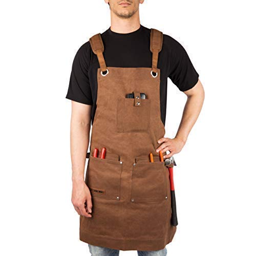 Waxed Canvas Heavy Duty Work Apron With Pockets - Deluxe Edition with Quick Release Buckle Adjustable up to XXL for Men and Women - Texas Canvas Wares (Brown Deluxe - Everything Apron