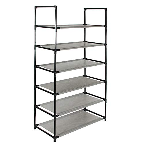Azadx 6 Tier Shoe Racks, Free Standing Non-Woven Fabric Shoe Furniture Storage Organizer Adjustable Space Saving Shelf - Grey