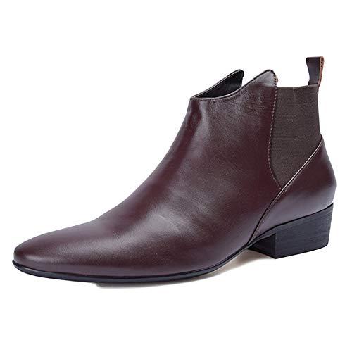 Chelsea Boots Uomo Pelle Oxblood Desert Brogue Classic Martin Stivali Top in Pelle Morbida Stivaletti Business Brown
