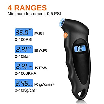 HELLO BAMBOO Digital Tire Pressure Gauge 150 PSI 4 Settings Car Truck Motorcycle Bicycle Backlit LCD Non-Slip Grip,1 Pack (Black): Automotive