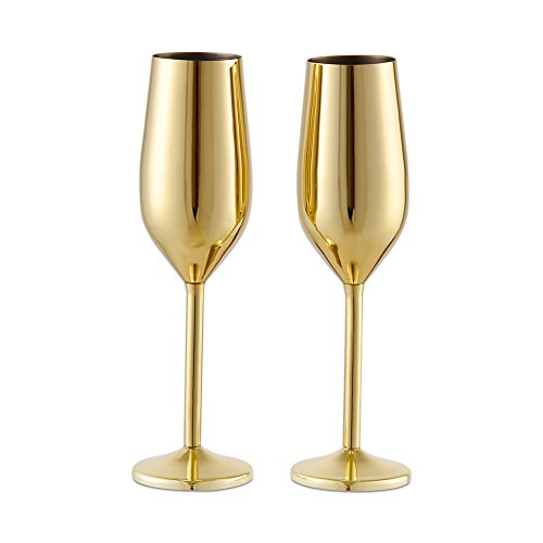 - Barfame 18/8 Stainless Steel Champagne Flutes Glass Set of 2, 7.5 oz Unbreakable BPA Free Champagne Wine Glasses for Wedding, Parties and Anniversary(Gold)