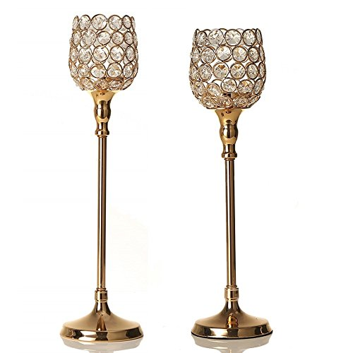- VINCIGANT Gold Crystal Candle Lantern Holders Set Home Decor Anniversary Celebration Wedding Gifts,Dinning Room Table Centerpieces,14.6 & 16.5 inches Tall