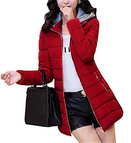 Grazioso Rot Piumino Giacca Tasche Lunga Donna Monocromo Giovane Laterali Calda Cappuccio Outwear Trench Moda Cerniera Con Invernali Manica T6pwxZqwt