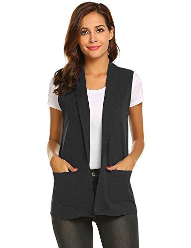 Aimado Women Casual Blazer Vest Solid Sleeveless Notched Collar Basic Waistcoat(S,XXL)
