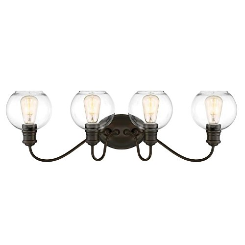 Quoizel Soho 4-Light Bronze Globe Vanity Light - Soho Bathroom Vanity Light