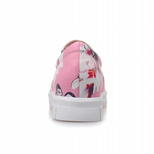 Carolbar Womens Floral Print Fashion Schattige Zoete Casual Comfort Loafers Schoenen Roze