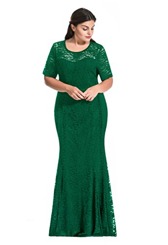 [Myfeel Women Plus Size Lace Ruched Empire Waist Sweetheart Mermaid Fishtail Cocktail Evening Dress (3X,] (Plus Size Formal Dresses)