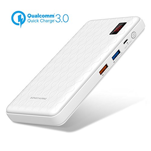 Quick Charge Power Bank QC 3.0 Portable Battery Charger, SONGCHUANG 15000mAh LED Display Fast Charge Dual USB Output External Battery Pack for iPhone X 6 7 8, iPad Samsung S7 S8 Galaxy Note 7 8