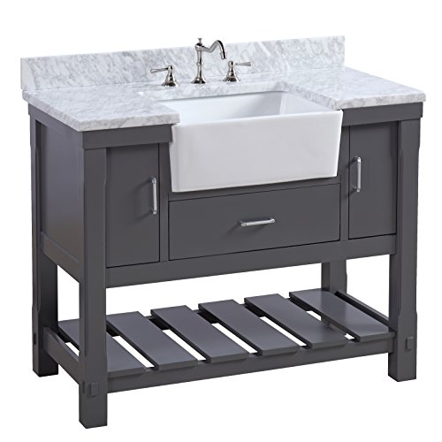 - Charlotte 42-inch Bathroom Vanity (Carrara/Charcoal Gray): Includes a Carrara Marble Countertop, Charcoal Gray Cabinet with Soft Close Drawers, and White Ceramic Farmhouse Apron Sink