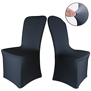 black dining chair covers. TtS Chair Covers Spandex Lycra Universal Slipcovers Dining Cover Wedding Banquet Party Black-Flat Black B