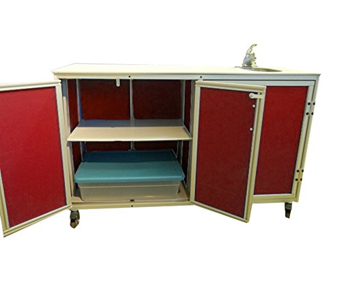 Monsam PSE-2046 Mobile Demo Table with Self-Contained Sink, Red by Monsam Enterprises