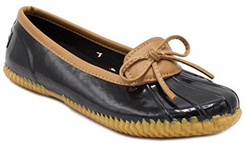 London Fog Womens Webster Duck Style Rain Shoe Black