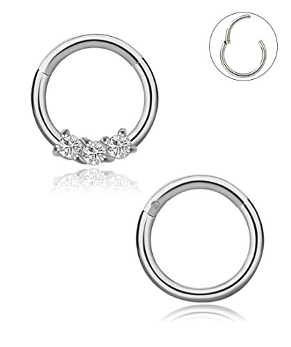 YOVORO 16G 2PCS 316L Stainless Steel Nose Rings Hoop Septum Clicker Ring Cartilage Tragus Piercing 8MM SI
