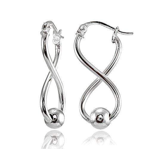 Sterling Silver Infinity Figure 8 Bead Drop Earrings