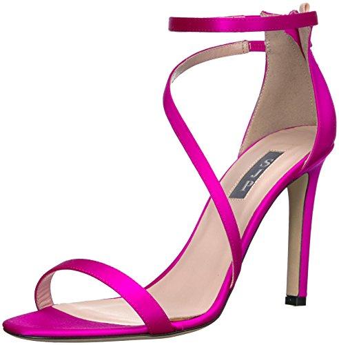 SJP by Sarah Jessica Parker Women's Serpentine Multi Strap Heel Sandal, Candy Satin, 36.5 B EU (6 US)