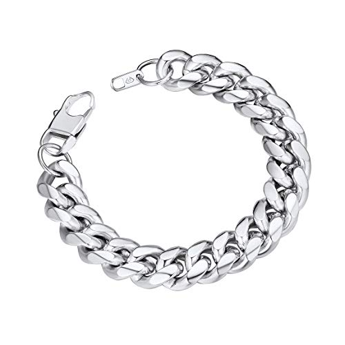 Chain Lobster Fashion Bracelet - Mens Heavy Stainless Steel Bracelet 19CM Sturdy Lobster Claw Clasp